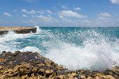 Waves Crashing On Rocks At Devil's Bridge Antigua