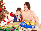 picture of card-making  - Children boy and girl making decoration for Christmas - JPG
