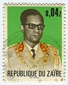 ZAIRE - CIRCA 1972: A stamp printed in Zaire shows image of the Mobutu Sese Seko Kuku Ngbendu wa Za