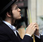 BNEI-BRAK, ISRAEL - SEPTEMBER 22: A young Orthodox Jew with side curls and black hat chooses ritual