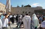 Jerusalem - October 16:  Thousands of Jews in traditional religious garb came to pray in the square
