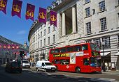 Red Double Deck Bus In Regent Street, London Uk