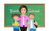 Back to school, School teacher with schoolboy and schoolgirl. Vector illustration