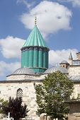 Tomb Of Mevlana, The Founder Of Mevlevi Sufi Dervish Order, With Prominent Green Tower In Konya, Tur