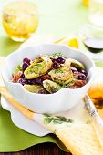 roasted brussels sprouts with grapes,nuts and balsamic vinegar