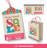 Venda Tag, saco de papel & modelos de Design do Voucher