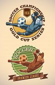 Vintage-styled soccer champs labels including an image of goalkeeper. Editable vector.