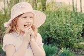 picture of fanny  - smile fanny  girl in hat outdoor close - JPG