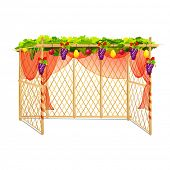 vector illustration of decorated sukkah for celebrating Sukkot