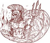 stock photo of poseidon  - hand draw design    poseidon death vector  with wave - JPG