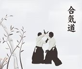 foto of aikido  - illustration men are engaged in aikido on a light background - JPG