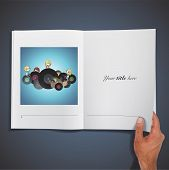 Kids Holding Vinyl Printed On Book. Vector Design