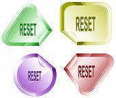 Reset. Stickers. Raster illustration. Vector version is in my portfolio.