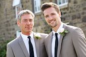 stock photo of gay wedding  - Best Man And Groom At Wedding - JPG