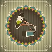 Vintage illustration with gramophone. Vector illustration.
