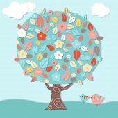 Fantastic Tree And Birds, Vector Illustration