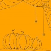 Sketch of pumpkins and spider web on abstract yellow background, can be use as flyer, banner or post