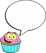 Cartoon cupcake with a caption balloon