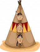 Illustration of a Native American Family Peeking from a Teepee
