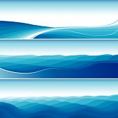 Set Of Blue Abstract Wave Sea Backgrounds