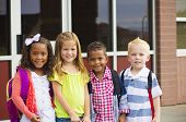 stock photo of kindergarten  - Portrait of Young Kids first day of School - JPG