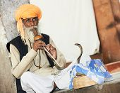 Hindu Snake charmer adult man in turban playing on musical instrument before snake at a basket
