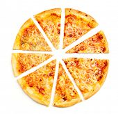 Closeup view of four cheese pizza isolated over white