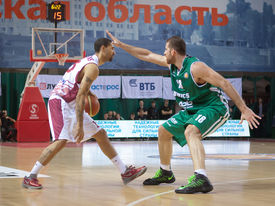 pic of unicity  - SAMARA RUSSIA - DECEMBER 02: Chester Simmons of BC Krasnye Krylia with ball goes against a BC UNICS player on December 02 2012 in Samara Russia. ** Note: Slight blurriness, best at smaller sizes - JPG
