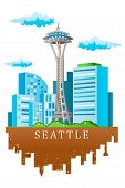 stock photo of view from space needle  - A vector illustration of Seattle skyline in cartoon style - JPG