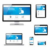 Modern responsive web development computer, laptop, tablet and smartphone vectors