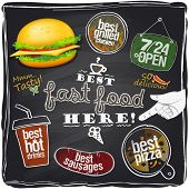 Best fast food here, chalkboard background.Eps10.