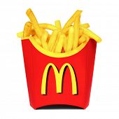 MOSCOW, RUSSIA-JULY 7, 2013: McDonald's French fries. McDonald's Corporation is the world's largest chain of hamburger fast food restaurants, serving around 68 million customers daily in 119 countries