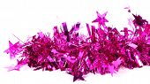 Close up of christmas purple tinsel with stars