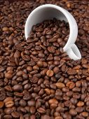 A white cup with many coffee beans on coffe background
