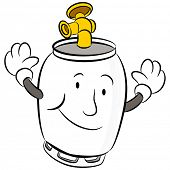 An image of a propane tank cartoon character.