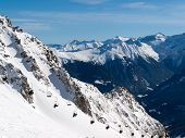 Skiing area in the Alps. Winter lanscape