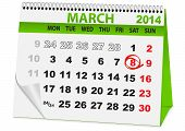 calendar for 8 March