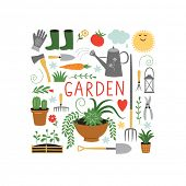stock photo of ax  - gardening design elements - JPG