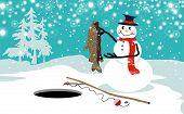 Funny snowman ice fishing vector