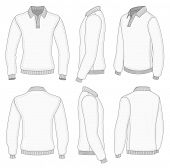 All views men's white long sleeve polo shirt design templates (front, back, half-turned and side views). Vector illustration. Ribbed collar, cuffs and waistband.