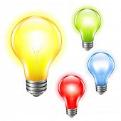 4 Color Bulbs Set, With Gradient Mesh, Vector Illustration