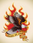 Bald eagle attacking through the fire and flames. Old-school tattoo design. Raster image (check my portfolio for options.)