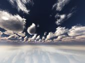 Surreal white reflective landscape with clouds