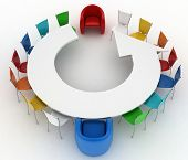Two arm-chairs of chief and group of multicolored office at a table as an arrow