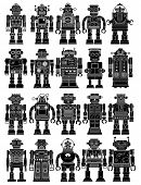 stock photo of robotics  - Vintage Tin Toy Robot Collection - JPG
