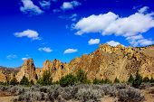 Smith Rock Oregon State Park with Blue Sky