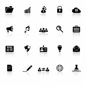 General Document Icons With Reflect On White Background