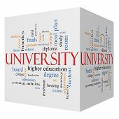 University 3D Cube Word Cloud Concept