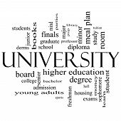 University Word Cloud Concept In Black And White