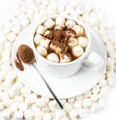 Cup Of Hot Cocoa With Chocolate And Marchmallows On White Background, Top View